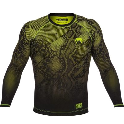Компрессионная футболка Venum Fusion Compression T-shirt Black Yellow Long Sleeves(Фото 1)