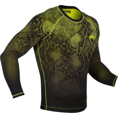 Компрессионная футболка Venum Fusion Compression T-shirt Black Yellow Long Sleeves(Фото 2)