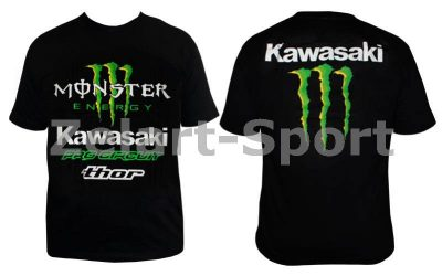 Футболка спортивная MONSTER KAWASAKI CO-4488-2 черный (х-б, р-р S-XL)(Фото 1)